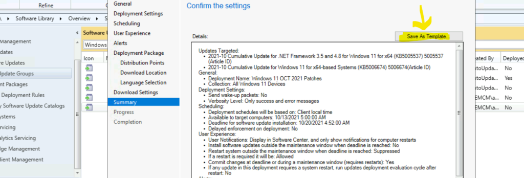 Windows 11 Patch Deployment Save as Template