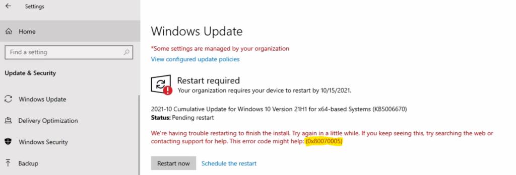 Issue - Windows Update Error 0x8007005