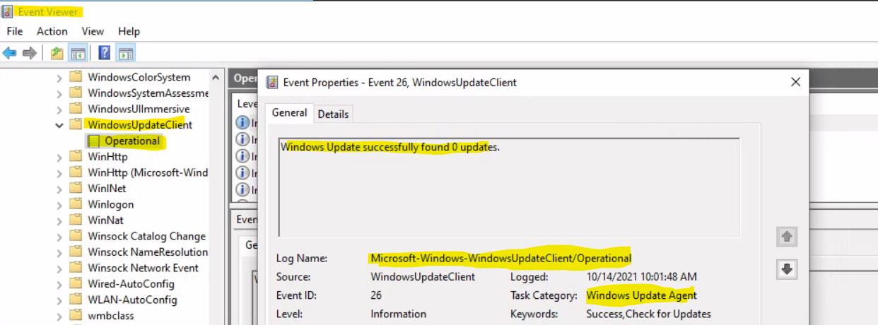WUA Event Logs - Troubleshooting to Fix Windows Update Error 0x80070005