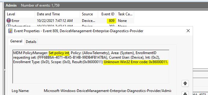 Event ID 809 - Unknown Win32 Error - Intune Logs