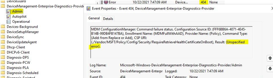 Event ID 404 Unspecified Error - Intune Policy Intune Logs