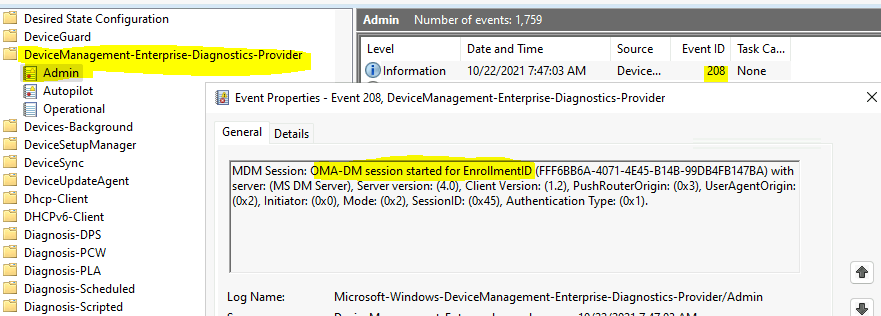 Event ID 208 - Intune Server Sync Initiated