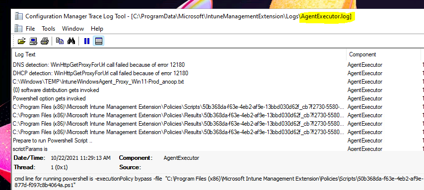 Intune Management Extension Logs -  AgentExecutor.log