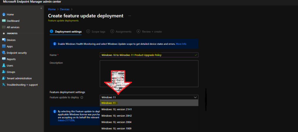 Windows 11 Feature Update Deployment Policy for Upgrade