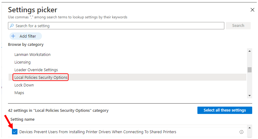 Settings picker - Local Policies Security Options