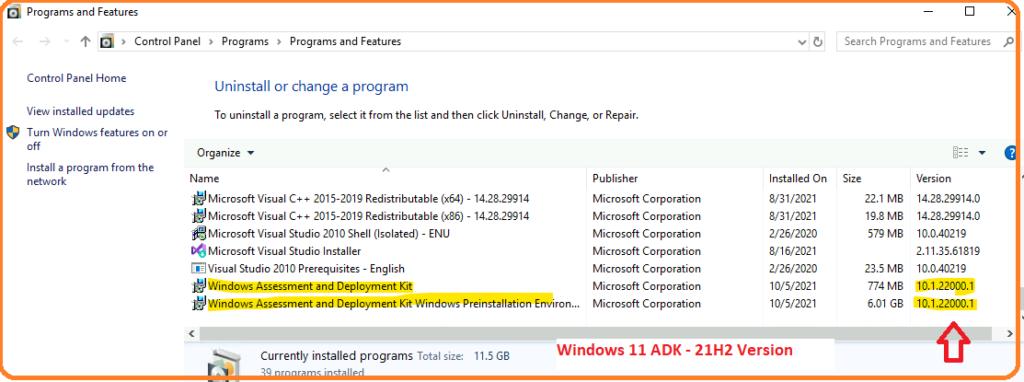 Windows 11 ADK Versions List
