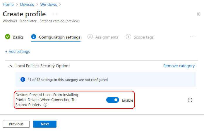 Devices Prevent Users From Installing Printer Drivers When Connecting To Shared Printers - Enabled