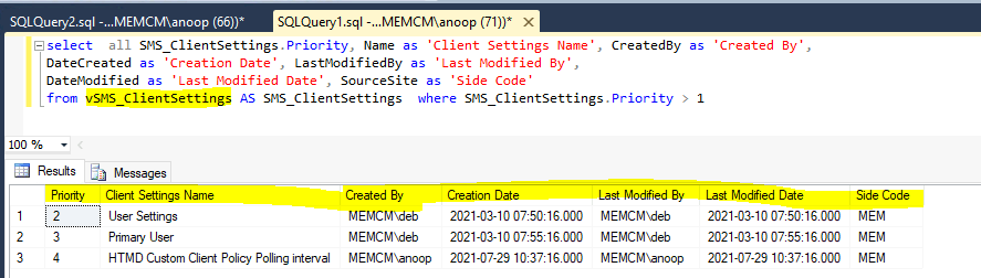 SCCM Client Settings Custom Report using SQL Query