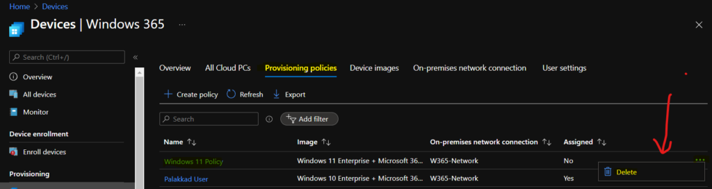 Fix Cloud PC Provisioning Policy Delete Option Grayed Out Issue
