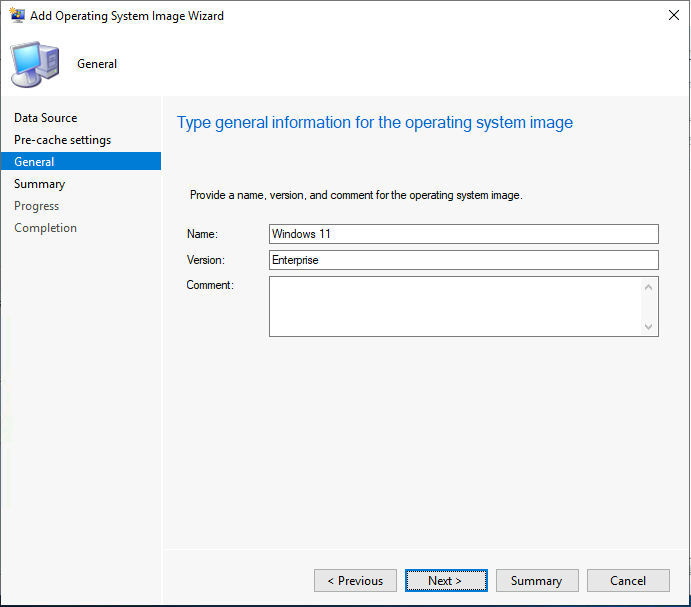 Provide Name, Version for the operating system image